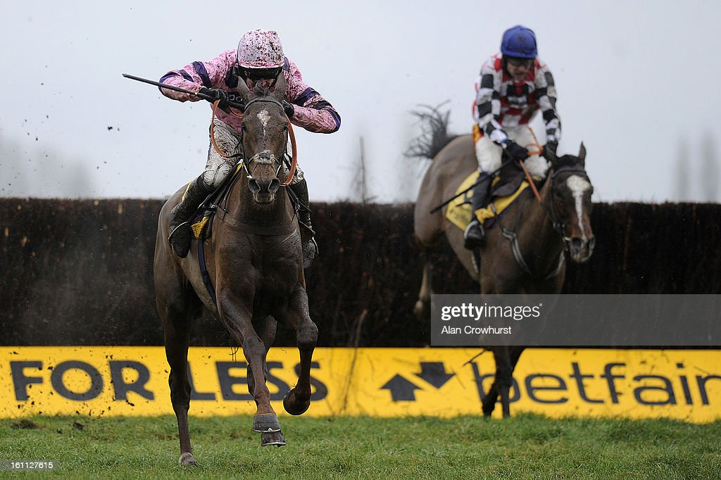 Ruby Walsh riding Silviniaco Conti (L) clear the last to win The Betfair Denman Steeple Chase from The Giant Bolster (R) at Newbury racecourse on February 09, 2013 in Newbury, England.
