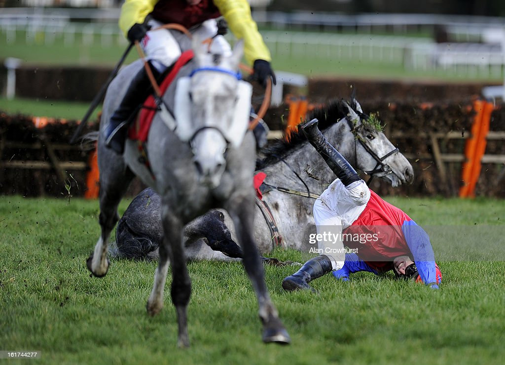 <a gi-track='captionPersonalityLinkClicked' href=/galleries/search?phrase=Ruby+Walsh&family=editorial&specificpeople=171838 ng-click='$event.stopPropagation()'>Ruby Walsh</a> riding Twigline fall at the last in The Jane Seymour Mares' Hurdle Race at Sandown racecourse on February 15, 2013 in Esher, England.