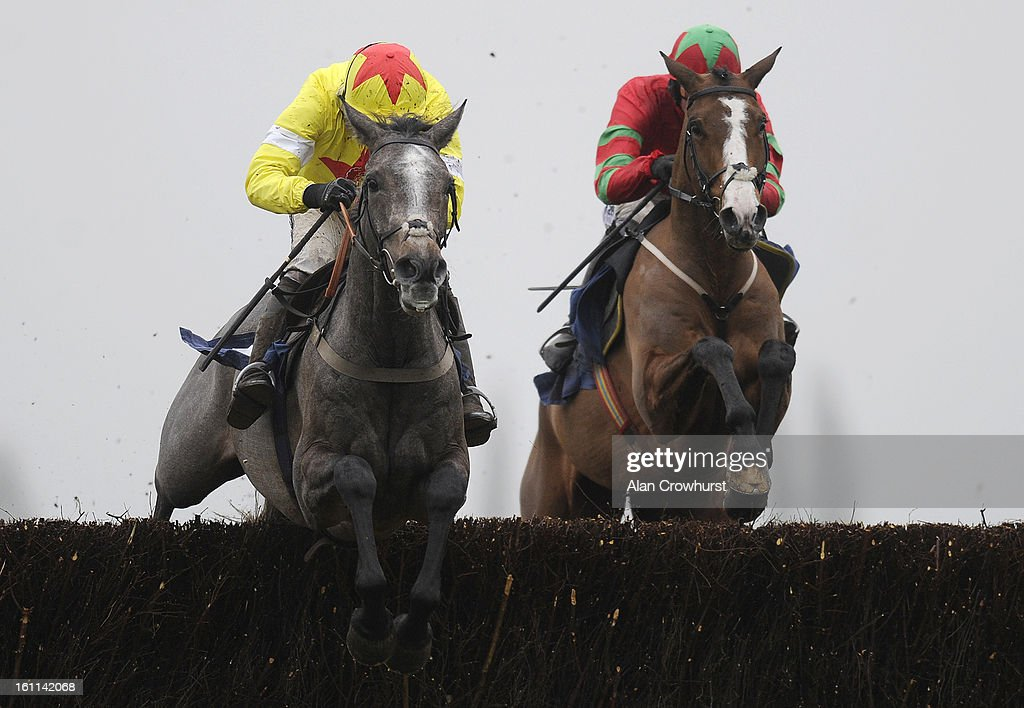 <a gi-track='captionPersonalityLinkClicked' href=/galleries/search?phrase=Ruby+Walsh&family=editorial&specificpeople=171838 ng-click='$event.stopPropagation()'>Ruby Walsh</a> riding Unioniste (L) clear the last to win The Better Prices On Betfair Mobile Novices' Steeple Chase at Newbury racecourse on February 09, 2013 in Newbury, England.