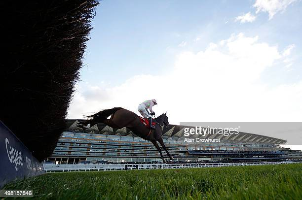 Ruby Walsh riding Vautour clear the fence in front of the grandstands before winning The Stella Artois 1965 Steeple Chase at Ascot racecourse on...