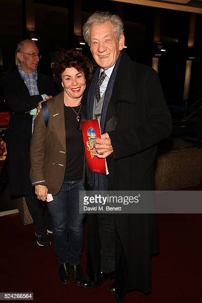 Ruby Wax and Sir Ian McKellen following the curtain call during the press night performance of 'Show Boat' at The New London Theatre Drury Lane on...