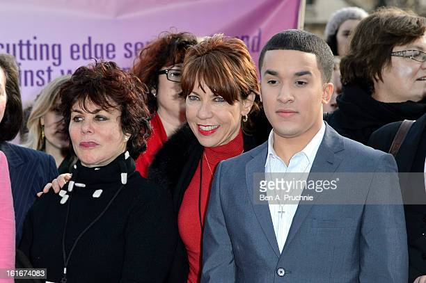Ruby Wax Kathy Lette and Jahmene Douglas attends a photocall to support the One Billion Rising Campaign at Houses of Parliament on February 14 2013...
