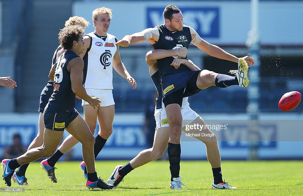 Ruckmen Robert Warnock kicks the ball during a Carlton Blues AFL Intra-Club match at Visy Park on February 6, 2013 in Melbourne, Australia.