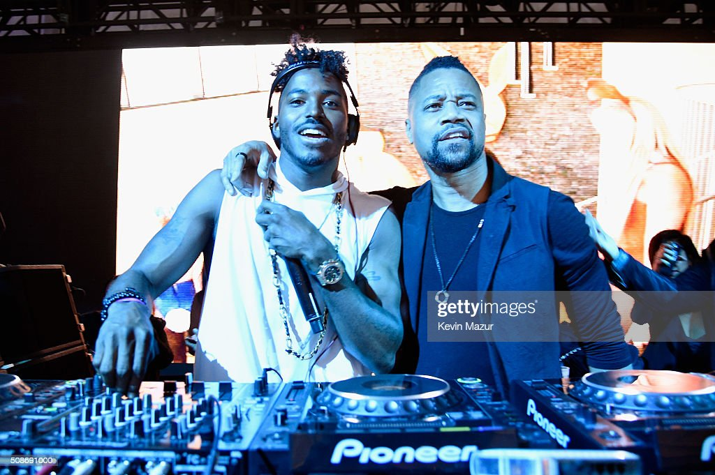 DJ Ruckus (L) and actor Cuba Gooding Jr. performs onstage during The Playboy Party during Super Bowl Weekend, which celebrated the future of Playboy and its newly redesigned magazine in a transformed space within Lot A of AT&T Park on February 5, 2016 in San Francisco, California.