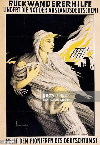 Ruckwanderer hilfe Lindert not die der auslandsdeutschen Helft den pionieren des Deutschtums poster World War I Germany 20th century Paris Musée...