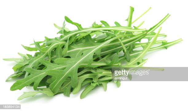 Rucola leaves isolated on white - side view