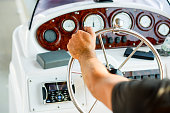 navigation and control on a yacht, steering wheel and instruments