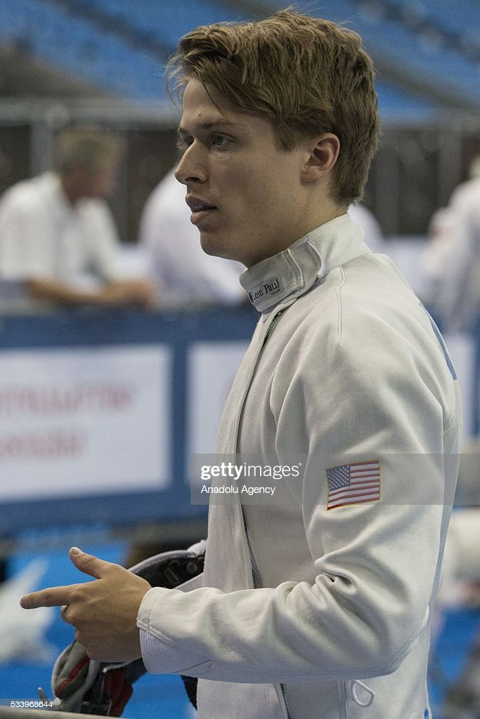 Ruddock Sam (USA) during the men's relay World Championship in modern pentathlon in Moscow in Olympic Sports Complex in Moscow, Russia, on May 24, 2016.