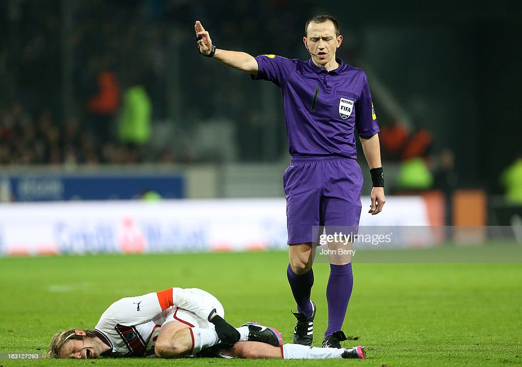 Ruddy Buquet, referee looks on during the french Ligue 1 match between Lille LOSC and FC Girondins de Bordeaux at the Grand Stade Lille Metropole on March 3, 2013 in Lille, France.