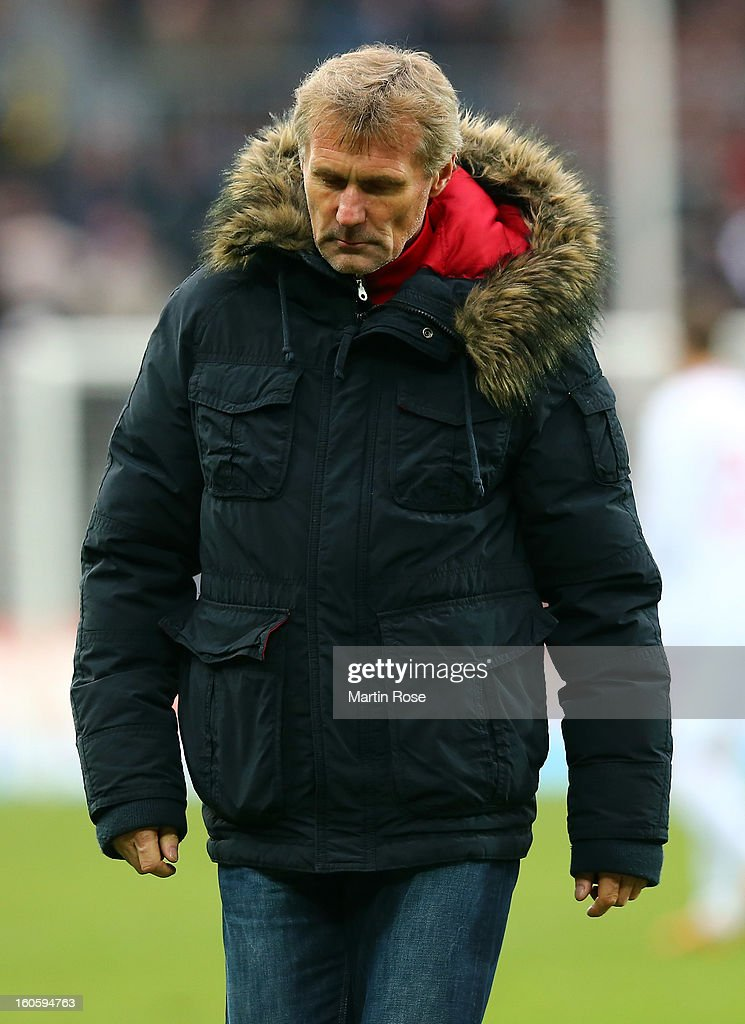 Rudi Bommer, head coach of Cottbus reacts after the second Bundesliga match between FC St. Pauli and Energie Cottbus at Millerntor Stadium at Millerntor Stadium on February 3, 2013 in Hamburg, Germany.