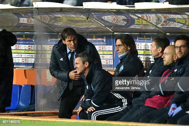 Rudi Garcia Coach of Marseille and Frederic Bompard Assistant Coach of Marseille during the ligue 1 match between Montpellier Herault and Olympique...