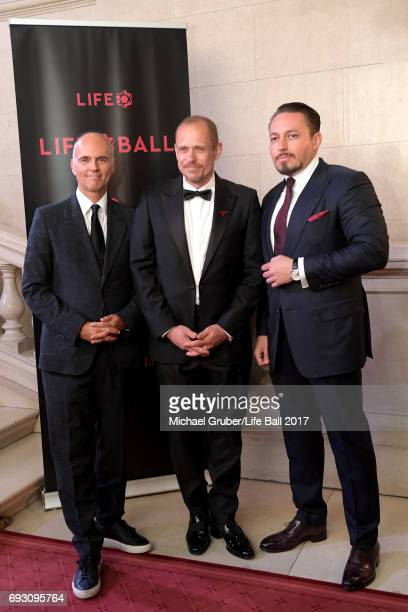 Rudi Kobza Gery Keszler and Klemens Hallmann attend the Life Celebration Concert at Burgtheater on June 6 2017 in Vienna Austria The concert marks...