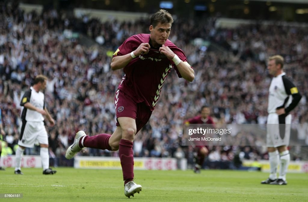 Rudi Skacel of Hearts celebrates his goal during the Tennents Scottish Cup Final between Hearts of Midlothian and Gretna at Hampden Park on May 13 2006, in Glasgow, Scotland.