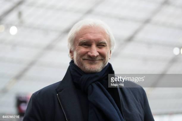 Rudi Voeller sports director of Leverkusen looks on prior the Bundesliga match between Bayer 04 Leverkusen and 1 FSV Mainz 05 at BayArena on February...