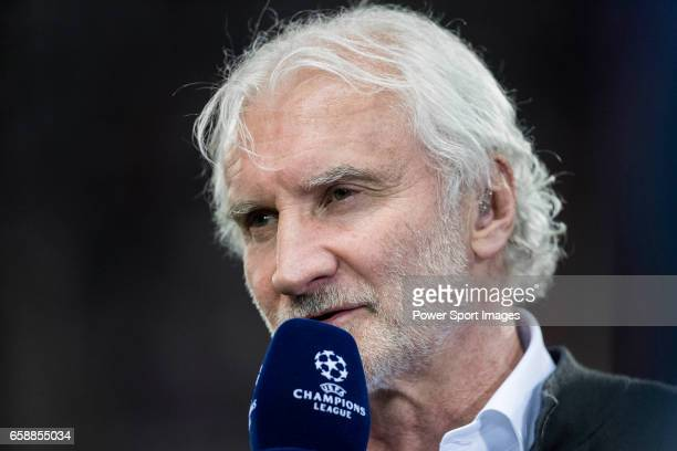 Rudi Voller former German footballer speaks prior to the 201617 UEFA Champions League Round of 16 second leg match between Atletico de Madrid and...