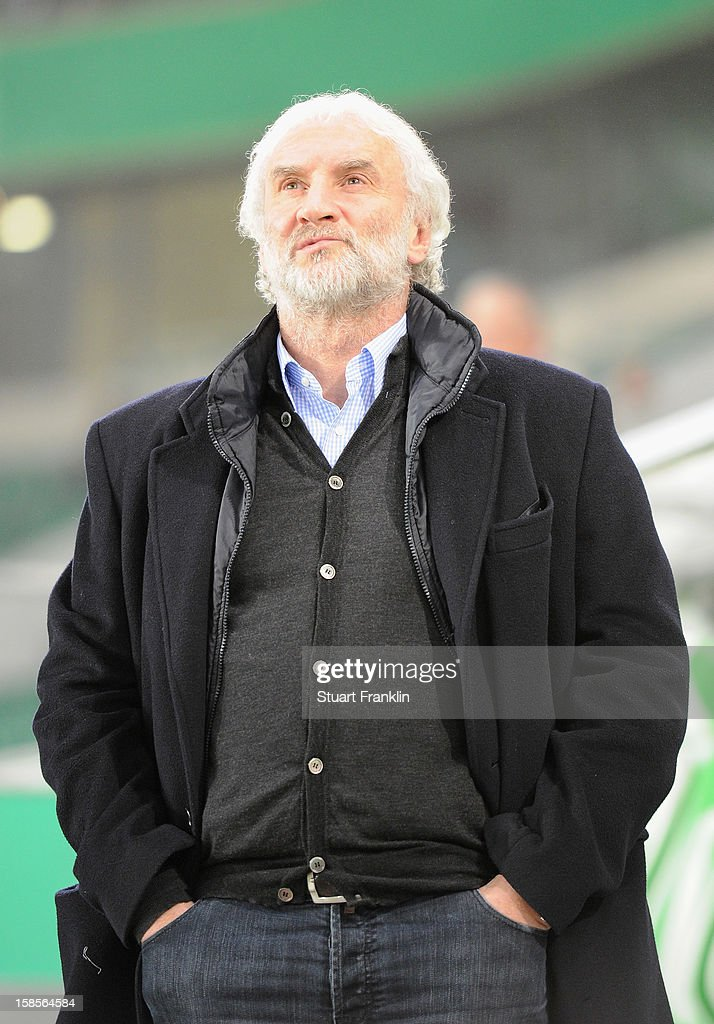 Rudi Voller, sport director of Leverkusen ponders during the round of 16 of the DFB cup match between VfL Wolfsburg and Bayer Leverkusen at Volkswagen Arena on December 19, 2012 in Wolfsburg, Germany.