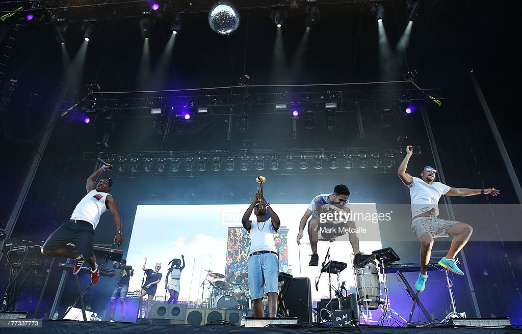 Rudimental perform live for fans as part of the 2014 Future Music Festival at Royal Randwick Racecourse on March 8, 2014 in Sydney, Australia.