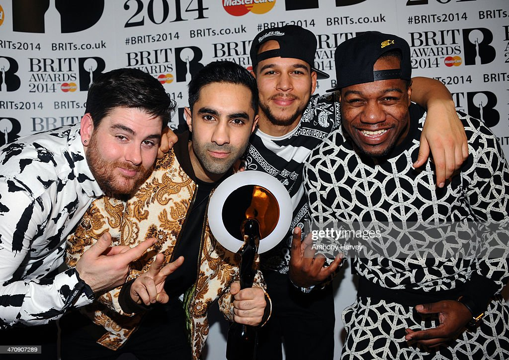 Rudimental, winners of the best British Single award, poses in the winners room at The BRIT Awards 2014 at 02 Arena on February 19, 2014 in London, England.