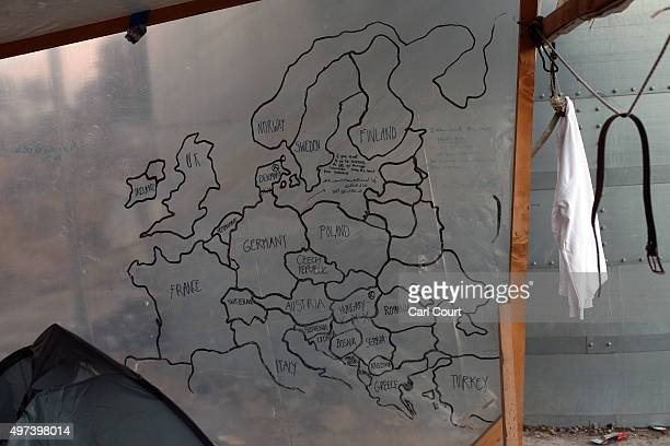 A rudimentary map of Europe is pictured on the wall of a migrant shelter by the Moria processing centre on the island of Lesbos on November 16 2015...