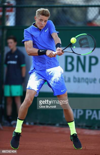 Rudolf Molleker of Germany in action during the boys singles first round match against Alejandro Davidovich Fokina of Spain on day eight of the 2017...