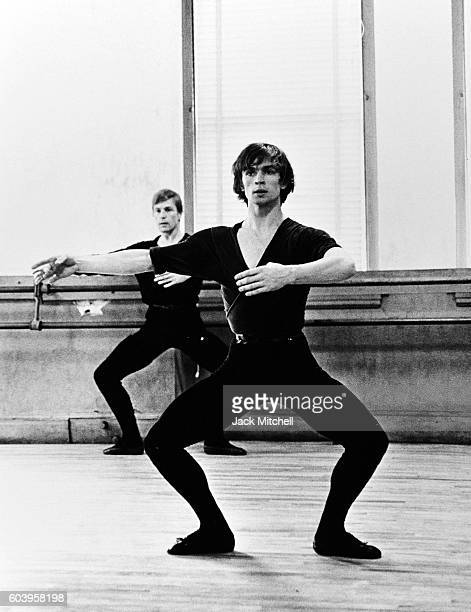 Rudolf Nureyev and Erik Bruhn in dance class 1965