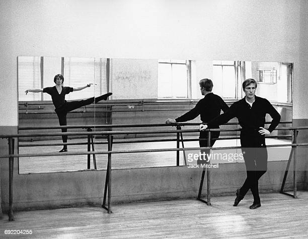 Rudolf Nureyev and Erik Bruhn working together privately at the Ballet Theatre School in New York City on January 20 1965