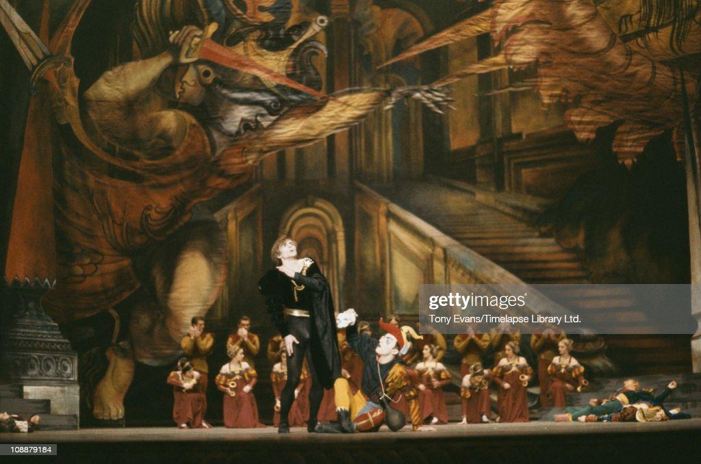 Rudolf Nureyev as Hamlet, choreographed by Robert Helpmann, with Lynn Seymour and Christopher Gable, 1964.