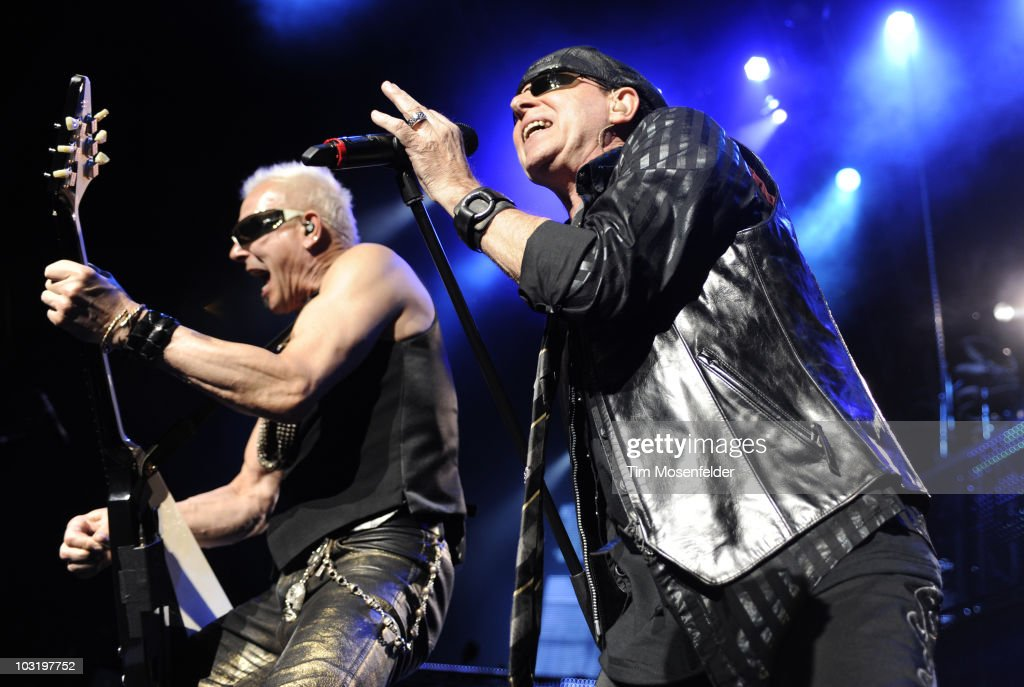 <a gi-track='captionPersonalityLinkClicked' href=/galleries/search?phrase=Rudolf+Schenker&family=editorial&specificpeople=710263 ng-click='$event.stopPropagation()'>Rudolf Schenker</a> (L) and <a gi-track='captionPersonalityLinkClicked' href=/galleries/search?phrase=Klaus+Meine&family=editorial&specificpeople=240345 ng-click='$event.stopPropagation()'>Klaus Meine</a> of The Scorpions perform in support of the bands the Sting in the Tail release at Sleep Train Pavilion on August 1, 2010 in Concord, California.