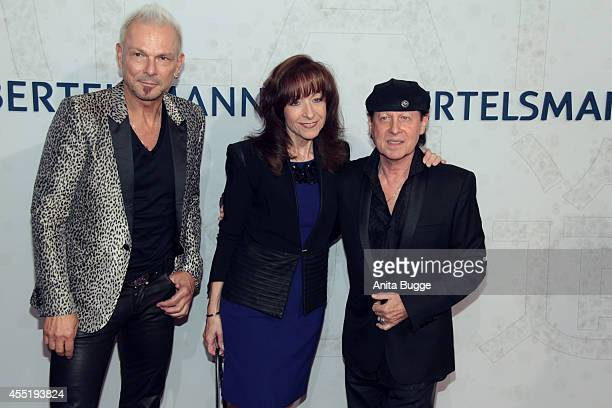 Rudolf Schenker Gabi Meine and Klaus Meine attend the Bertelsmann Summer Party at the Bertelsmann representative office on September 10 2014 in...