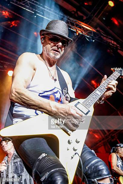 Rudolf Schenker guitarist of the band Scorpions performs at the Scorpions Concert during the Thurn Taxis Castle Festival 2016 on July 23 2016 in...
