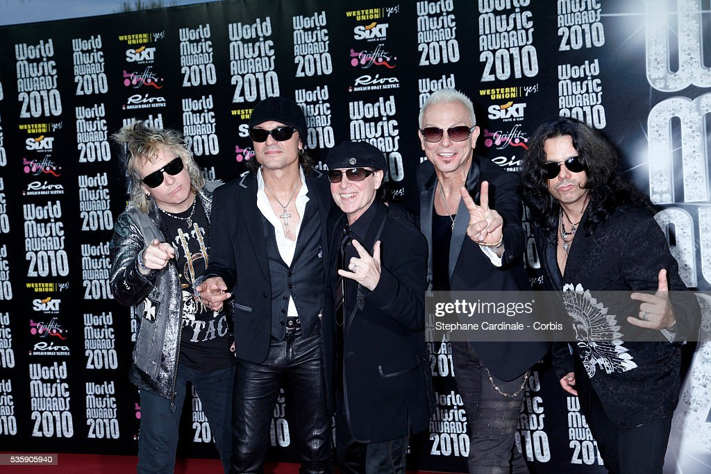 Rudolf Schenker, James Kottak, Klaus Meine and Matthias Jabs perform during the 'World Music Awards 2010 - show' at the Sporting Club on May 18, 2010 in Monte Carlo, Monaco.