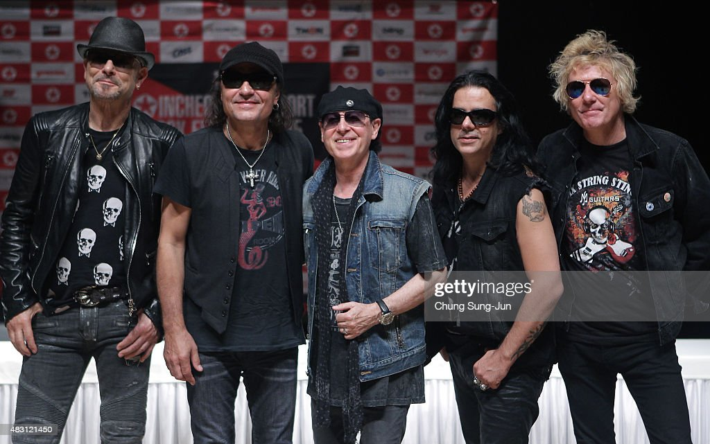 <a gi-track='captionPersonalityLinkClicked' href=/galleries/search?phrase=Rudolf+Schenker&family=editorial&specificpeople=710263 ng-click='$event.stopPropagation()'>Rudolf Schenker</a>, <a gi-track='captionPersonalityLinkClicked' href=/galleries/search?phrase=Matthias+Jabs&family=editorial&specificpeople=710280 ng-click='$event.stopPropagation()'>Matthias Jabs</a>, <a gi-track='captionPersonalityLinkClicked' href=/galleries/search?phrase=Klaus+Meine&family=editorial&specificpeople=240345 ng-click='$event.stopPropagation()'>Klaus Meine</a>, Pawe©© Maciwoda and James Kottak of Scorpions attend the press conference to celebrate 50th anniversary of Scorpions on August 6, 2015 in Incheon, South Korea.