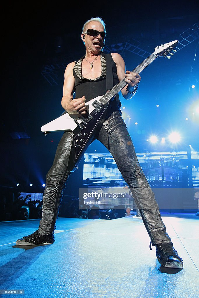 <a gi-track='captionPersonalityLinkClicked' href=/galleries/search?phrase=Rudolf+Schenker&family=editorial&specificpeople=710263 ng-click='$event.stopPropagation()'>Rudolf Schenker</a> of Scorpions performs at 1STBANK Center on August 17, 2010 in Broomfield, Colorado.