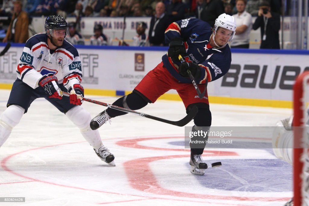 Rudolfs Balcers in action during the Team Zuccarello v Team Icebreakers All Star Game at the DNB Arena on August 16, 2017 in Stavanger, Norway.