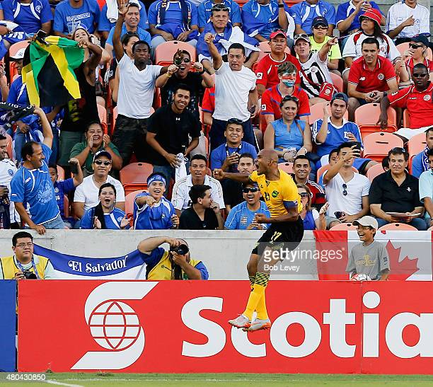 Rudolph Austin of Jamaica celebrates his goal in stoppage time against the Canada at BBVA Compass Stadium on July 11 2015 in Houston Texas Jamaica...