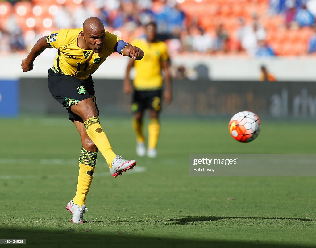 Rudolph Austin of Jamaica puts a shot opjn goal in the first half at BBVA Compass Stadium on July 11 2015 in Houston Texas