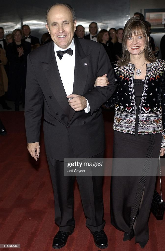 Rudolph Giuliani and fiancee Judith Nathan during Kennedy Center Honors 2002 at Kennedy Center in Washington DC United States