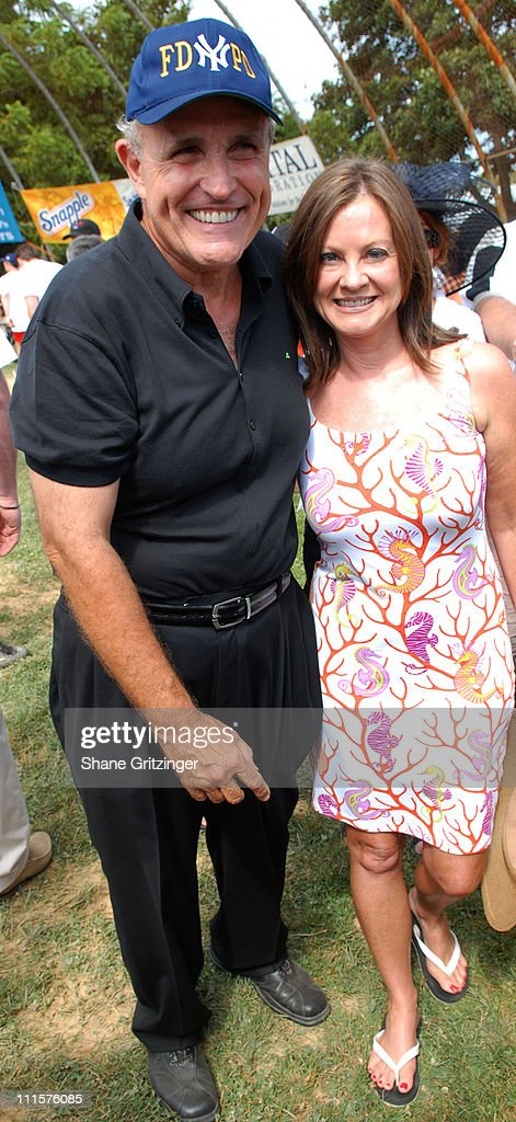 Rudolph Giuliani and Judith Giuliani during The 58th Annual Artists and Writers Benefit Softball Game at Herrick Park in East Hampton New York United...
