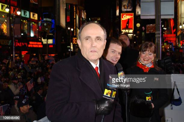 Rudolph Giuliani during MTV 2002 New Year's Party Live from New York City's Times Square Show at MTV Studios in New York City New York United States