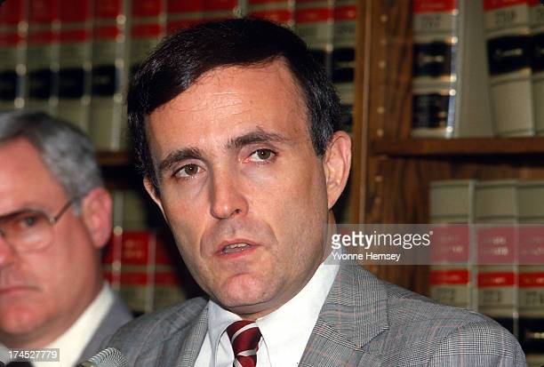 Rudolph Giuliani US Attorney for the Southern District of New York is photographed at a press conference June 22 1987 in New York City the day...