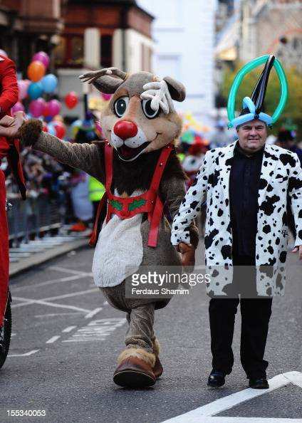 Rudolph the rednosed reindeer attends the harrods christmas parade in