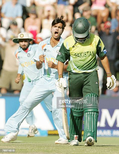 Rudra Singh of India celebrates after bowling Kamran Akmal for a duck during the Twenty20 Championship Final match between Pakistan and India at The...