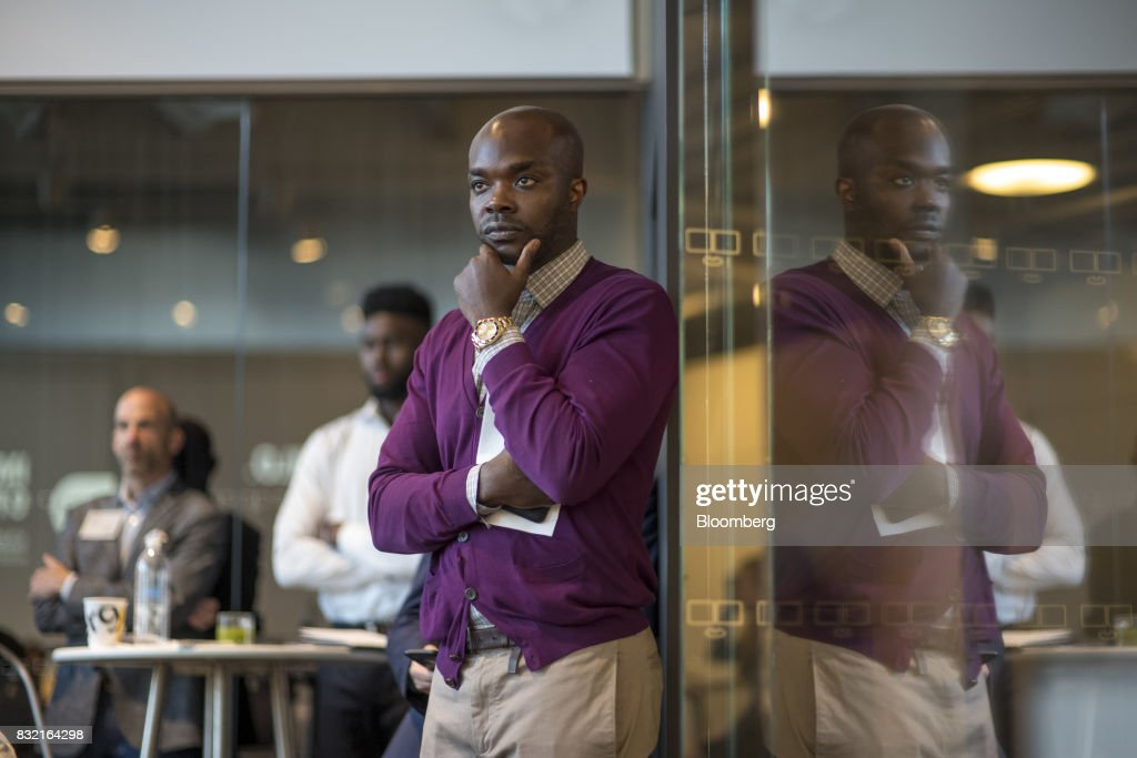 Rudy Cline-Thomas, investment partner of Andre Iguodala, a professional basketball player with the National Basketball Association's (NBA) Golden State Warriors, not pictured, listens to a panel discussion during the The Players Technology Summit in San Francisco, California, U.S., on Tuesday, Aug. 15, 2017. Top leaders in the tech community and venture capital met with professional athletes to exchange ideas and share expertise through panels, discussions and interactive networking to help athletes take control of their careers as business professionals. Photographer: David Paul Morris/Bloomberg via Getty Images
