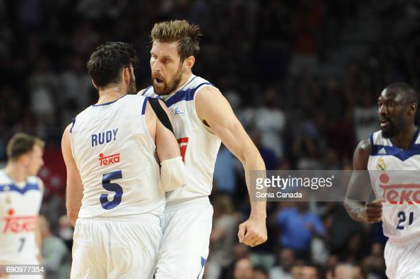 Rudy Fernandez #5 guard of Real Madrid and Andres 'Chapu' Nocioni #6 forward of Real Madrid during the Liga Endesa Semi Final game between Real...
