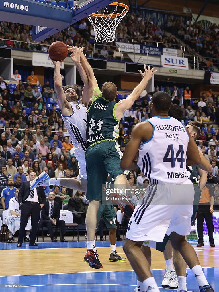 Rudy Fernandez, #5 of Real Madrid in action during the 2012-2013 Turkish Airlines Euroleague Top 16 Date 4 between Unicaja Malaga v Real Madrid at Palacio Deportes Martin Carpena on January 17, 2013 in Malaga, Spain.