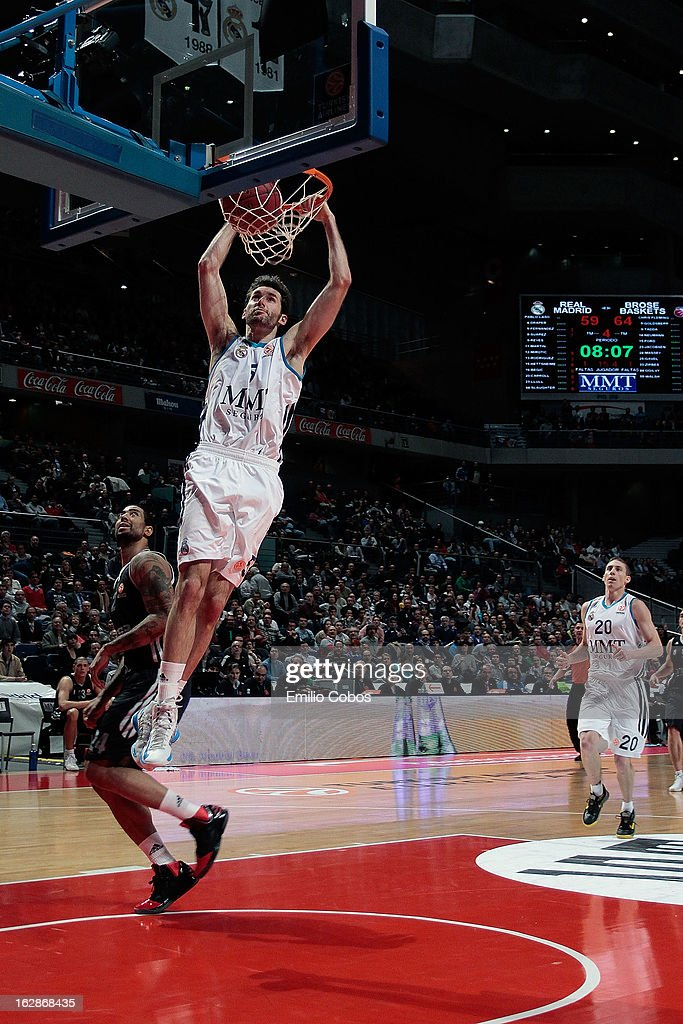 Rudy Fernandez, #5 of Real Madrid in action during the 2012-2013 Turkish Airlines Euroleague Top 16 Date 9 between Real Madrid v Brose Baskets Bamberg at Palacio Deportes Comunidad de Madrid on February 28, 2013 in Madrid, Spain.