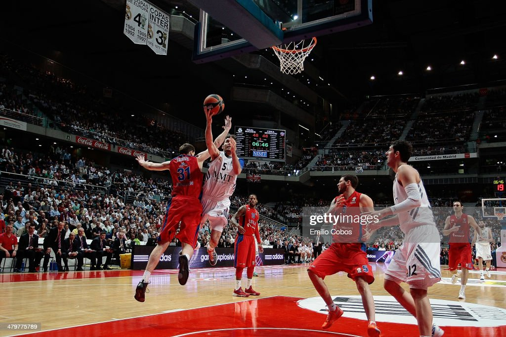 Rudy Fernandez, #5 of Real Madrid in action during the 2013-2014 Turkish Airlines Euroleague Top 16 Date 11 game between Real Madrid v CSKA Moscow at Palacio Deportes Comunidad de Madrid on March 20, 2014 in Madrid, Spain.