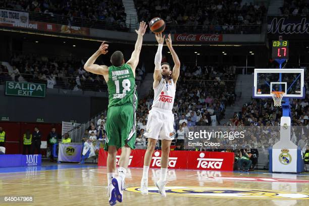 Rudy Fernandez #5 of Real Madrid in action during the 2016/2017 Turkish Airlines EuroLeague Regular Season Round 23 game between Real Madrid v...