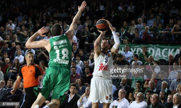 Rudy Fernandez #5 of Real Madrid in action during the 2016/2017 Turkish Airlines EuroLeague Playoffs leg 3 game between Darussafaka Dogus Istanbul v...