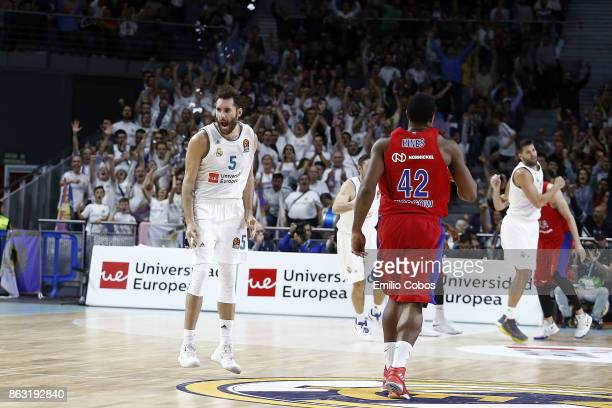 Rudy Fernandez #5 of Real Madrid in action during the 2017/2018 Turkish Airlines EuroLeague Regular Season Round 2 game between Real Madrid and CSKA...